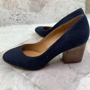 Franco Sarto optimum blue denim blocked heel pumps